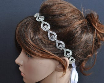 Rhinestone Headband - Wedding Headpiece - Ribbon - Crystal - Accessories - Bridal - Wedding