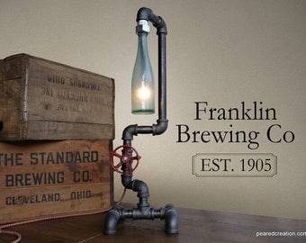 Industrial Beer Lamp - Bottle Lighting - Steampunk Fixture - Faucet Switch - Table Lamp Furniture - Bar Decor