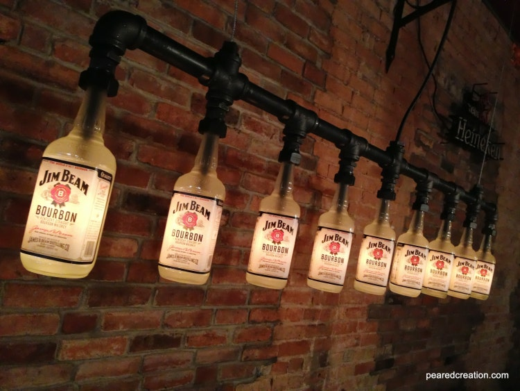Industrial Style Bottle Lamp Jim Beam By Newwineoldbottles