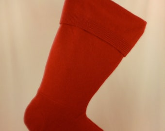 Christmas Stocking Felted Wool Felt Cashmere Red Soft Recycled Repurposed Upcycled 158