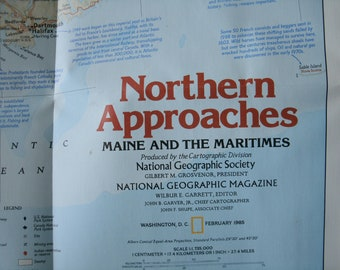 Vintage National Geographic Northern Approaches Maine to the Maritimes Map 1985