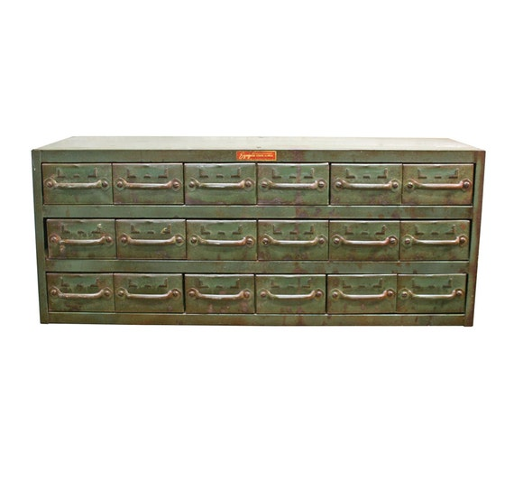 Vintage Industrial Hardware Cabinet Equipto Multi By