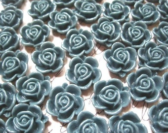 Resin Flower Cabochons / 10 pcs Dark Gray Green Resin Dahlia Mum 15mm