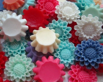 Cabochon Flowers 6 pcs Mixed Lot Pincushion Flowers 22mm