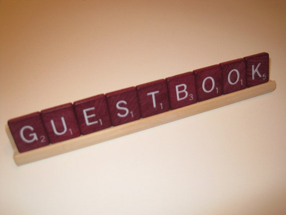 GUESTBOOK Deluxe Edition Scrabble Sign Nameplate - Upcycled Recycled