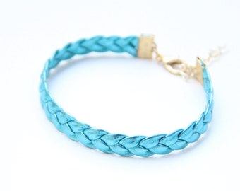 ON SALE: Arm Candy - Blue Metal leather braid Bracelet - 24k gold plated