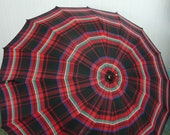 1940s Plaid Umbrella Lucite Handle, Plaid Red Blue Green White and Black, Back to School Accessory