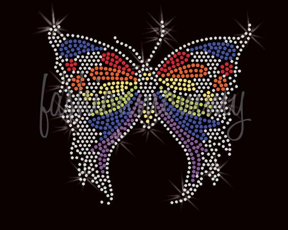 Rainbow Butterfly Colorful - Rhinestone Transfer Iron On Applique Bling Crystal