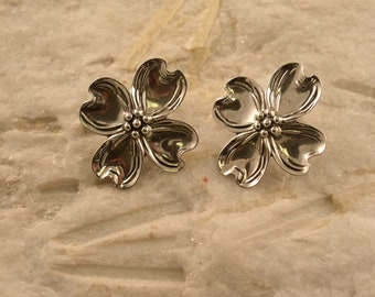 Silver Dogwood Flower Earrings