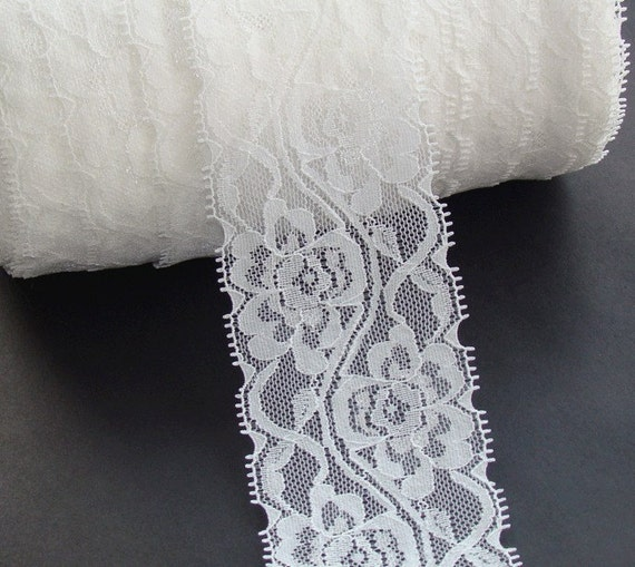 White lace trim 2 Yards 2.5 Inches flower lace with a little elasticity lacemode 0048