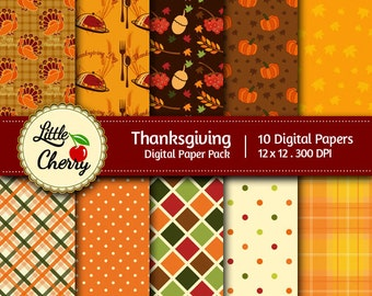 Thanksgiving -10 printable Digital Scrapbooking papers - 12 x12 - 300 DPI