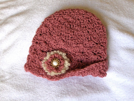 RESERVED for Elise Crochet cloche rose pink