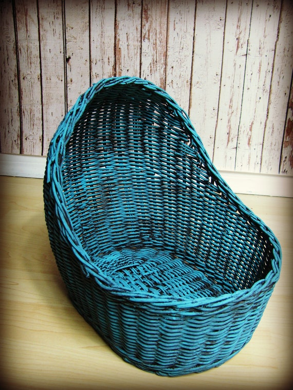 """Bassinet in Turquoise-Bassinet Photo Prop-10.5"""" tall x 9"""" wide x 10.2"""" long"""