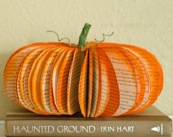 Medium Thanksgiving Pumpkin Decoration - Orange Fall, Autumn, and Halloween Decor Upcycled from Old Books