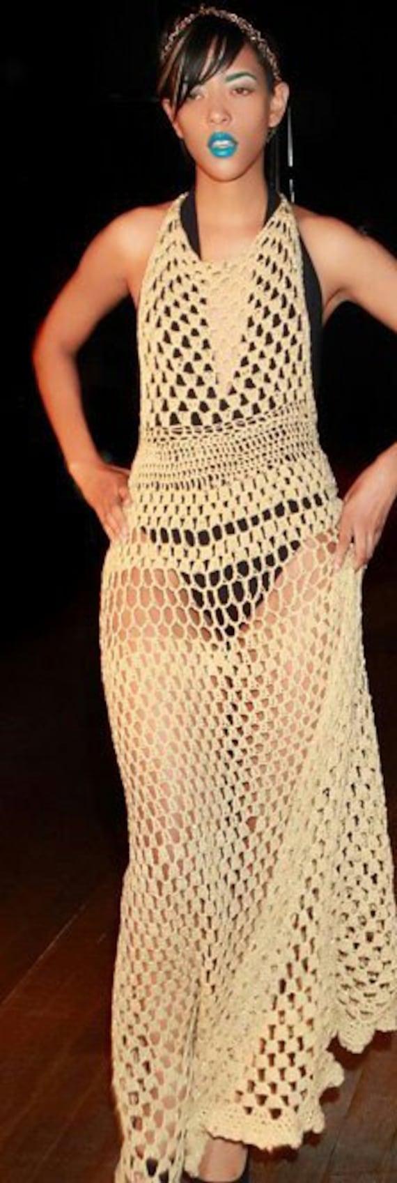 Floor Length Gold Crochet Cover up