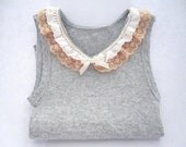 Gray baby singlet top with crochet lace