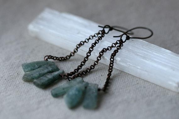 From the Waters earrings - Organic Series-Rustic,Blue Kyanite,Earthy,Rough,Raw,Solid Copper,Bohemian,Tribal,Tribalis