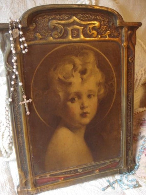 Antique Art Nouveau Baby Jesus Chalkware Wall By