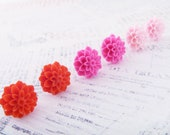 3 Sets of Pink Large Mum Earrings