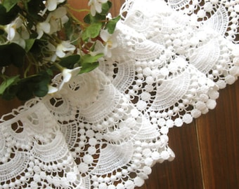 Cotton Lace Fabric Trim - Wide Off White Floral Scallop Lace Fabric Cloth TRIM 4.5 Inches 1 Meter - CMSR011