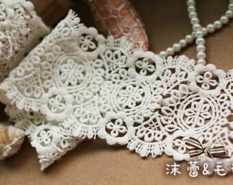 Cotton Lace Trim Retro Venice lace White Lace Trim ivory lace trim, cotton lace trim, guipure lace trim, natural cotton lace CMSR25b