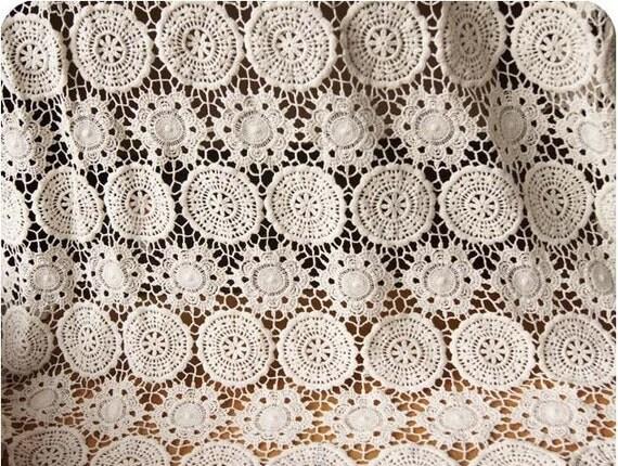 Crochet Fabric : Items similar to Ecru Cotton Lace Fabrics Crocheted lace on Etsy