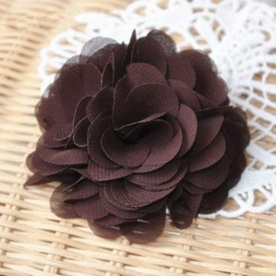 Chiffon Fabric Flowers Bridal Hair Flowers Coffee Baby Headware Flowers DIY Supplies Rose Blossoms Corsag 2 pcs