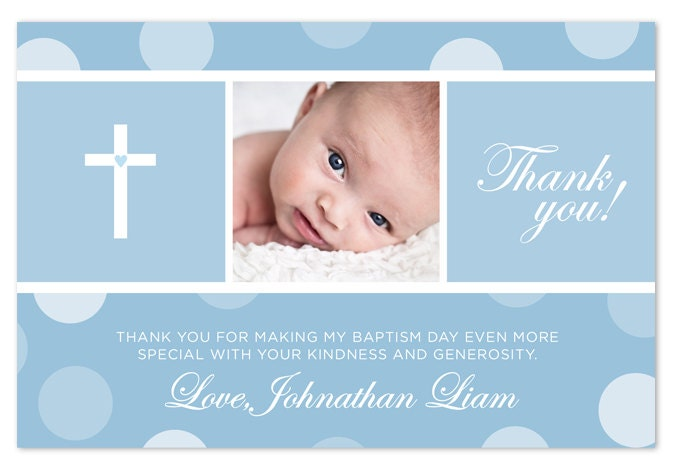 Baptism Christening Thank You Card Blue Pink By