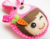 Felt Charm, keychain, key ring, ornament witl animal topping- available custom made different color