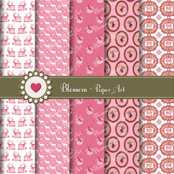 Papeles decorativos digitales rosa papeles digitales para - Papeles decorativos para imprimir ...