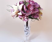 Real Touch Casablanca Lily & Purple Amaryllis Footed Glass Vase ( sold out available for pre-order)