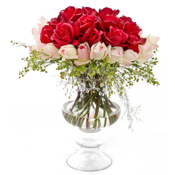 Real Touch Red Pink Rose Arrangement Large in Footed Glass Vase as Home Decor Centerpiece Artificial Faux Floral Arrangement