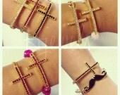 Crystal Sideways Cross Bracelet