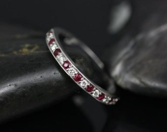 Rosados Box Grace Platinum Diamond and Ruby HALFWAY Eternity Band