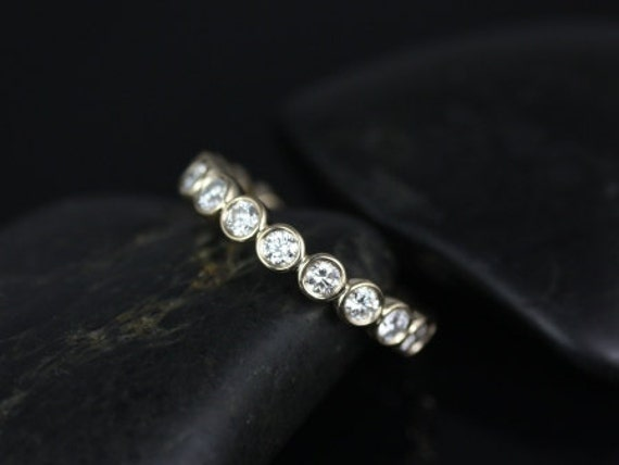 Grande Bubbles 14kt Yellow Gold Round Diamond Bezel FULL Eternity Band (Other Metals and Stone Options Available)
