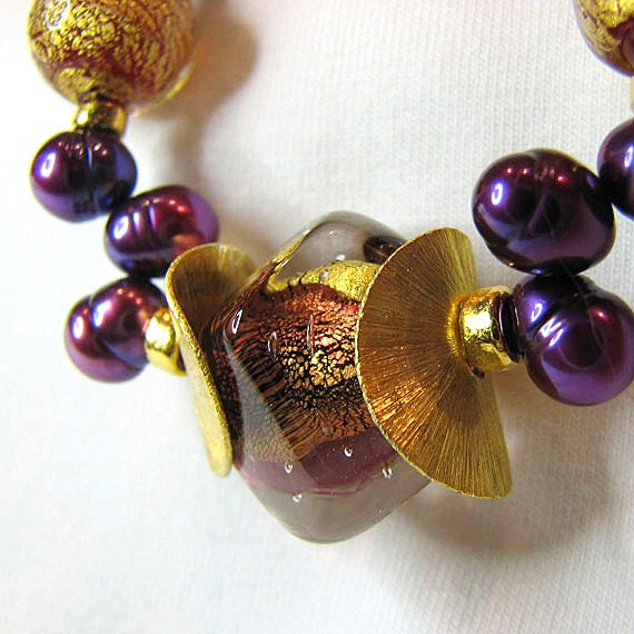 Murano glass beaded necklace Purple freshwater pearl necklace Gold beads Murano jewelry Pearl jewelry Elegant fall fashion beaded jewelry