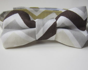 Neutral Chevron Bow Tie for Boys - Zig Zag Bow Tie - Brown, Mustard Yellow, Grey - Modern Bow Tie - Little Guys - Contemporary Bow Tie