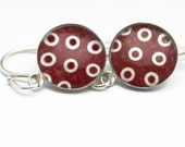 Shabby Chic Polka Dot Earrings | Red White Distressed Polka Dot Silver Lightweight Earrings