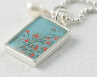Orange Blossoms Necklace   Aqua Tangerine Tango Pendant   Silver Rectangle Flower Necklace