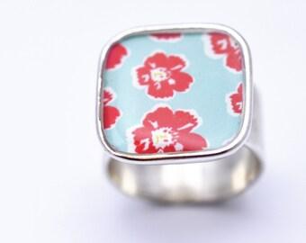 Aqua Red Floral Ring | Adjustable Silver Flower Ring