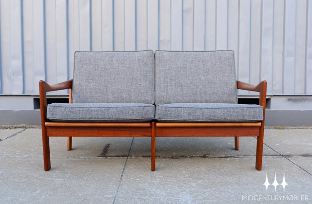 Danish Modern Mid Century Teak Loveseat By Illum Wikkelso For