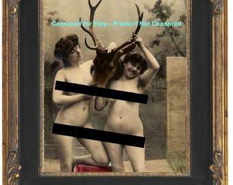Taxidermy Art Nouveau Art Print 8 x 10 - Flapper Style Art Deco Nudes With Deer Head - MATURE