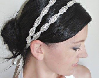 Double Crystal Bridal Headband, Beaded Wedding Headpiece with Rhinestones, 2 Row Crystal Headband, LUCY