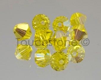4mm Citrine AB Swarovski Crystal Bicone Beads 72 Beads #45-1114