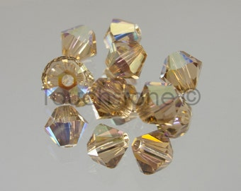 4mm Light Colorado Topaz AB Swarovski Crystal Bicone Beads 72 Beads #45-1159