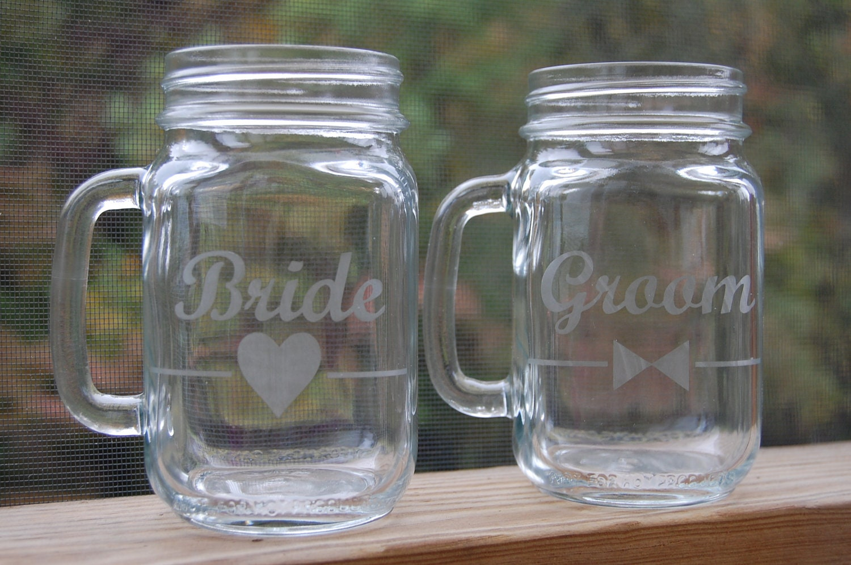 Personalized mason jar drinking glasses set of 2 by thefancypigeon - Mason jar goblets ...
