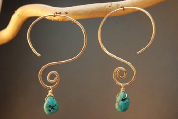 Interchangeable Gemstone Hammered Swirl Hoop Earrings Swap your drops Nouveau 176