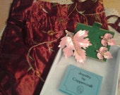 Vintage Coppercraft Pink Leaf with Pink Rhinestones Brooch & Earrings Set