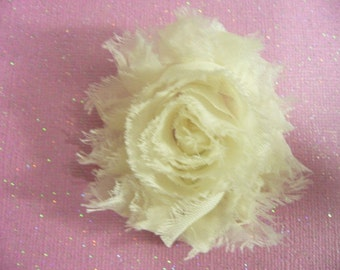 Shabby Chic Flower, Light Ivory Hair Clip, Baby Bow, Baby Girl Headband, Newborn Headband.