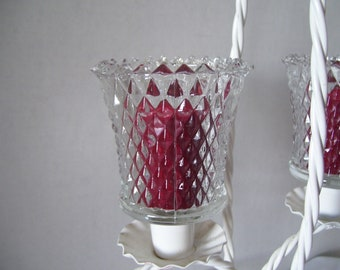 Vintage Diamond Cut Peg Votive holders cups  Clear glass  Candleholders Wall Sconce Lighting Replacement Glass Home Interiors